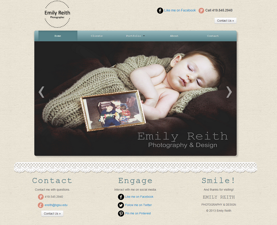 Emily Reith Photography Site Screenshot
